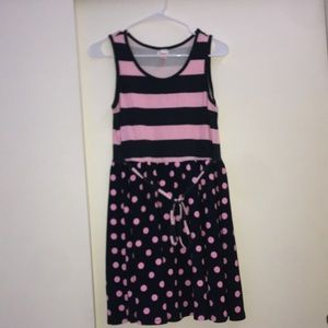 Justice Striped/Polka dot pink and Navy Blue dress